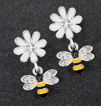 Earrings Bee and Flower