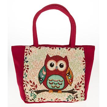 Tapestry Owl Handbag Red
