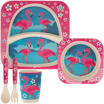 Bamboo Eco Baby Food Set Flamingo