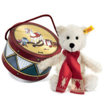 Steiff Charly Dangling Teddy Bear White in Drum Box