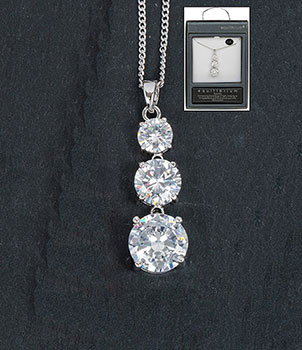 Necklace 3 Crystal Drop Clear Silver