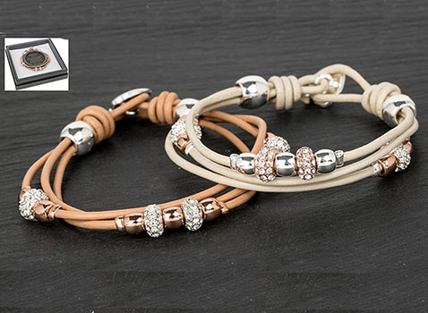 Bracelet 3 String Leather 2 Tone Light Brown