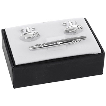 Mens Stripes Tie Pin and Cufflinks