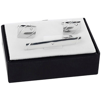 Mens Corner Crystal Tie Pin and Cufflinks