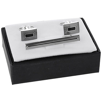 Mens Rectangles Tie Pin and Cufflinks