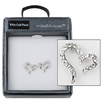 Earring White Gold Plated Open Heart Diamante Earrings