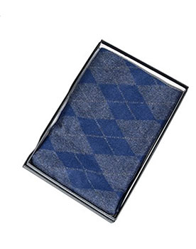 Mens Double Sided Diamond Scarf Blue