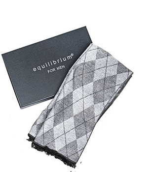 Mens Double Sided Diamond Scarf Grey