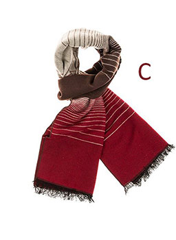 Mens Double Sided Lines Scarf Red