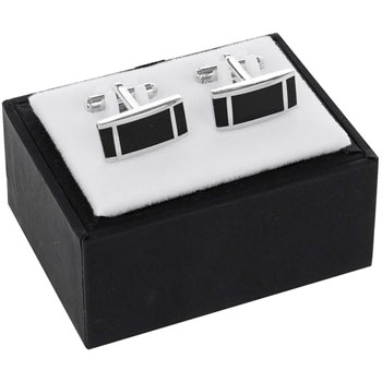 Mens Black and Silver Rectangle Cufflinks