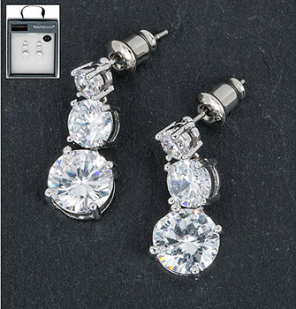 Earrings 3 Crystal Drop Clear