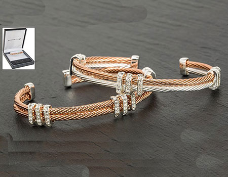 Bracelet Double Rope Bangle Rose Gold Silver and Clear