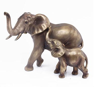 Art Bronze Elephant Pair Small