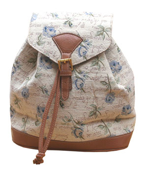 Blue Rose Tapestry Back Pack