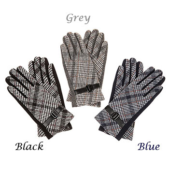 Gloves Traditional Checked Black Gloves