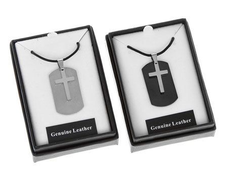 Dog Tag Silver Cross Necklace