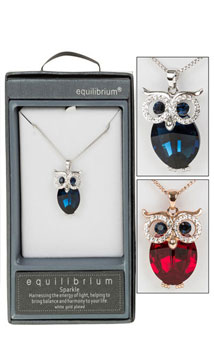 Necklace Blue Crystal Owl