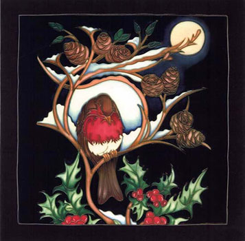 Moorcroft Christmas Card Robin At Rest
