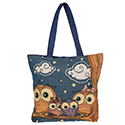 Four Owls On Branch Large Tote Bag