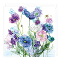 Card Blue Poppies and Sweetpeas