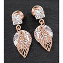 Earrings Crystal And Leaf