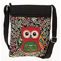 Owl Flat Shoulder Bag Black