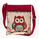 Owl Flat Shoulder Bag Red