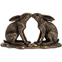 Art Bronze Kissing Hares