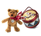 Steiff Charly Dangling Teddy Bear Brown in Drum Box