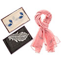 Embroidered Feathers Boxed Scarf