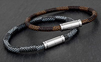 Mens Two Tone Modern Leather Bracelet