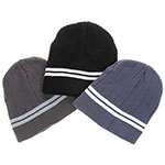 Men Striped Knit Beanie Hat