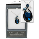 Necklace White Gold Plated Teardrop Butterfly Blue Necklce