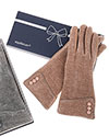 3 Buttons Chenille Boxed Gloves Dark Pink