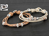 Bracelet 3 String Leather 2 Tone Cream Bracelet