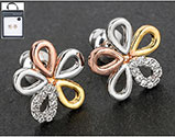 Earrings 3 Tone Diamante Daisy