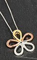 Necklace 3 Tone Diamante Rose Gold Daisy Necklace