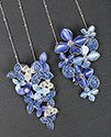 Necklace Cool Tones Flowers Cluster Necklace