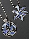 Necklace Cool Tones Leaves and Flower Necklace
