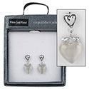 Hanging Moonstone Heart White Gold Plated Earrings