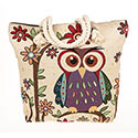 Tapestry Owl With Flowers Tote Bag
