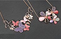 Necklace Warm Tones Butterfly and Flower Necklace