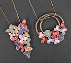 Necklace Warm Tones Flowers Necklace