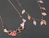 Necklace Warm Tones Hearts and Leaves Necklace