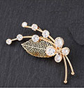 Brooch Filigree Leaf Crystal Broach Rose Gold