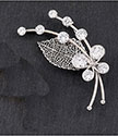 Brooch Filigree Leaf Crystal Brooch Silver