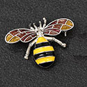 Brooch Hand Painted Bee Silver