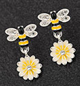 Earrings Hand Painted Bee and Lemon Flower