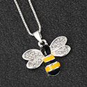Necklace Hand Painted Bee Silver