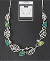 Necklace Leaves and Moonstone Blue and Green